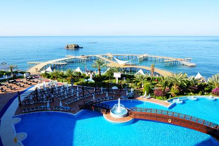 The swimming pool and beach, Antalya, Turkey Editorial