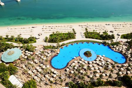 View on beach at Jumeirah Palm man-made island, Dubai, UAE