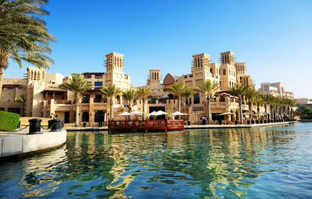 windtower: DUBAI, UAE - SEPTEMBER 9  View of the Souk Madinat Jumeirah  Madinat Jumeirah encompasses two hotels and clusters of 29 traditional Arabic houses on September 9, 2013 in Dubai, UAE