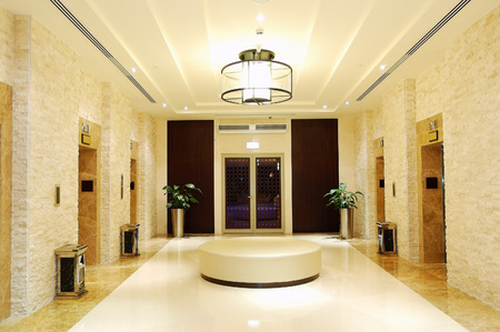 The elevators area at luxury hotel, Dubai, UAE
