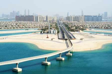 islands in the sky: View on Jumeirah Palm man-made island, Dubai, UAE