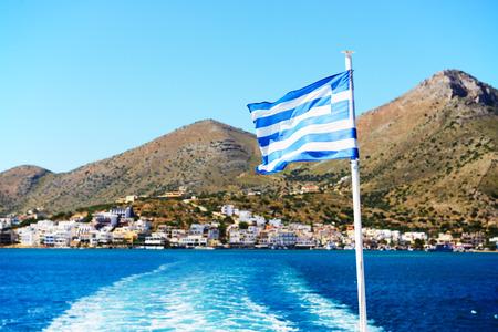 The Greek Flag on a yacht, Crete, Greece photo
