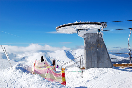 station ski: The old cableway station on a top of Chopok mountain in Jasna ski resort, Low Tatras, Slovakia Editorial