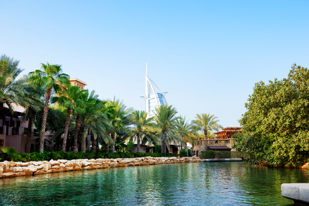 windtower: The channel in Souk Madinat Jumeirah, Dubai, UAE Editorial
