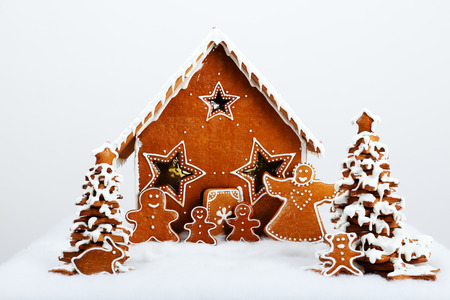 The family near hand-made eatable gingerbread house and New Year Trees with snow decoration photo