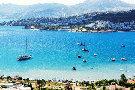 recreation yachts: Recreation yachts near beach on Turkish resort, Bodrum, Turkey