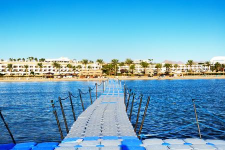 sharm: Beach at the luxury hotel, Sharm el Sheikh, Egypt