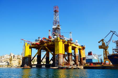 oil platform: Oil platform in repair in the Industrial dock of Malta