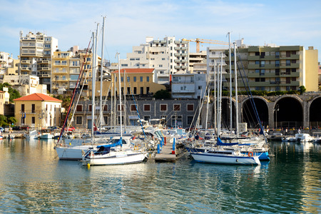 motor boats: The yachts and motor boats are near pier, Crete, Greece Editorial