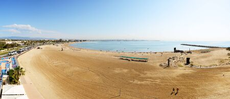 dorada: Panorama of the beach, Costa Dorada, Spain Stock Photo