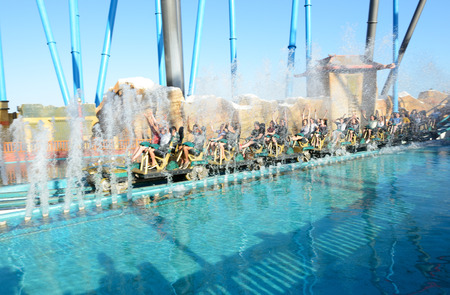 port aventura: PORT AVENTURA, SPAIN - MAY 26: The Shambhala rollercoaster in Port Aventura theme park in May 26, 2015 in Salou, Spain. It is the highest rollercoaster in Europe with 76m. Editorial