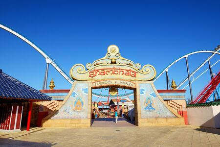 PORT AVENTURA, SPAIN - MAY 26: The Shambhala rollercoaster in Port Aventura theme park in May 26, 2015 in Salou, Spain. It is the highest rollercoaster in Europe with 76m. Editorial