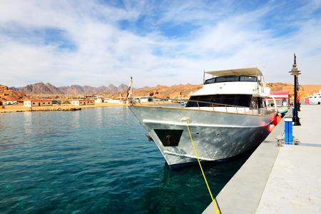 el sheikh: Motor yacht on Red Sea in harbor, Sharm el Sheikh, Egypt