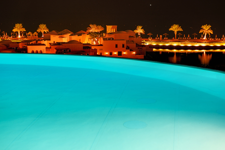 ras: The swimming pool at luxury hotel in night illumination, Ras Al Khaima, UAE