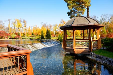 summerhouse: The summerhouse and waterfall in Mezhigirya, Novi Petrivtsi, Ukraine. It is former residence of ex-president Yanukovich, now open to the public