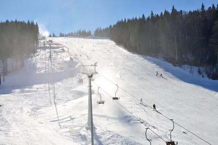kids at the ski lift: The slope of Bukovel ski resort, Ukraine