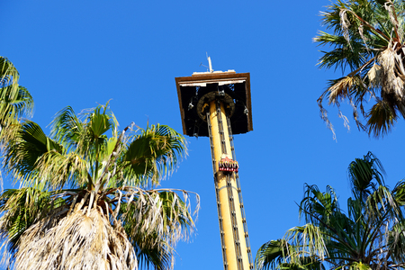 port aventura: PORT AVENTURA, SPAIN - MAY 26: The Hurakan Condor Ride in Port Aventura theme park in May 26, 2015 in Salou, Spain. Up to 60 mln tourists is expected to visit Spain in year 2015. Editorial