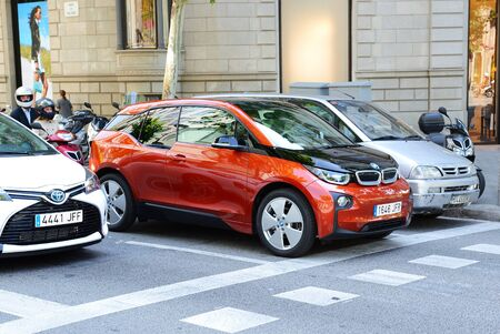 i3: BARCELONA, SPAIN - MAY 27: The BMW i3 electric car is on street of Barcelona city on May 27, 2015 in Barcelona, Spain. Up to 60 mln tourists is expected to visit Spain in year 2015.