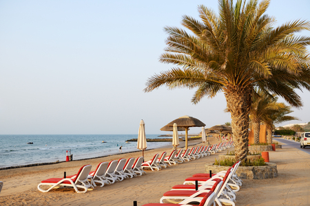 ras: Beach of the luxury hotel during sunset, Ras Al Khaima, UAE