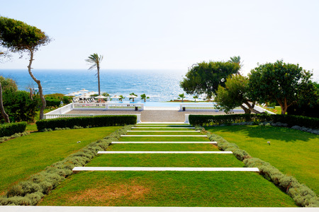peloponnes: Swimming pool near beach at the luxury hotel, Peloponnes, Greece Stock Photo