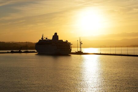 kerkyra: The cruise ship during sunset in Kerkyra port, Corfu island, Greece
