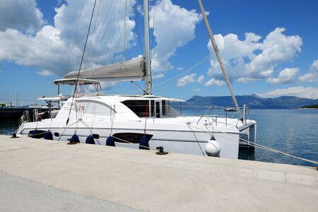 The sail yacht is in harbor, Corfu island, Greece