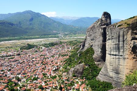 kalampaka: The view on Kalampaka town and Meteora, Greece