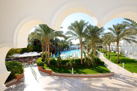 el sheikh: The swimming pool at luxury hotel, Sharm el Sheikh, Egypt Stock Photo