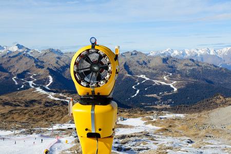 val: The snow cannon in ski resort, Madonna di Campiglio, Italy