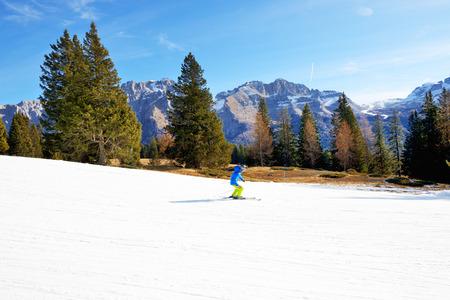 The ski slope and skier, Madonna di Campiglio, Italy.