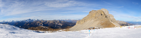 ski area: The panorama of ski slope and skiers at Passo Groste ski area, Madonna di Campiglio, Italy