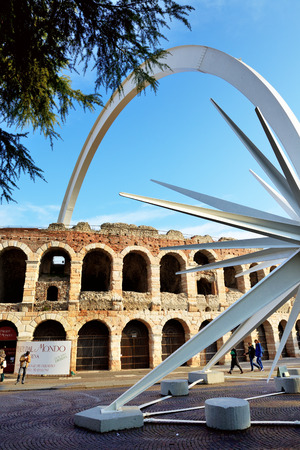 VERONA, ITALY - DECEMBER 15: Every year at Christmas time, in Verona city is assembled a comet, designed by architect and designer Rinaldo Olivieri: 70 meters high, weighing 78 tons on December 15, 2015 in Verona, Italy