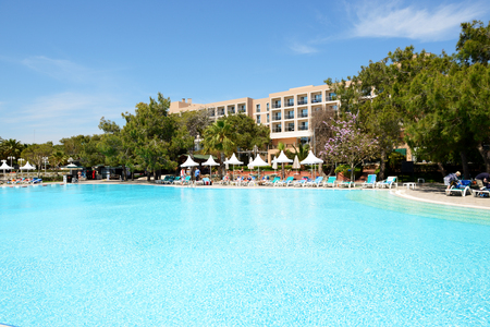 ANTALYA, TURKEY - APRIL 20: The tourists enjoing their vacation in luxury hotel on April 20, 2014 in Antalya, Turkey. More then 36 mln tourists have visited Turkey in year 2014