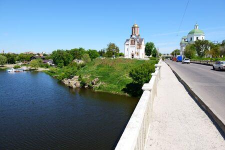 The view on building of organ music and Ros river, Bila Tserkva, Ukraine