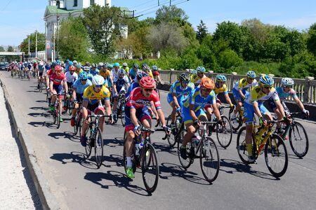 BILA TSERKVA, UKRAINE - MAY 18: The racers are on Bila Tserkva stage of International road race Tour of Ukraine 2017 on May 18, 2017 in Bila Tserkva, Ukraine.