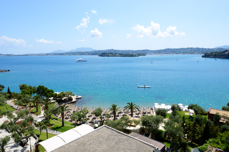 The view on beach at luxury hotel, Corfu, Greece Stock Photo