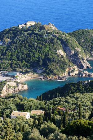 paleokastritsa: The view on a bay in a heart shape and beach, Corfu, Greece