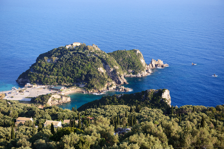 ionian: The view on a bay in a heart shape and beach, Corfu, Greece