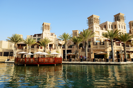 DUBAI, UAE - SEPTEMBER 9: View of the Souk Madinat Jumeirah. Madinat Jumeirah encompasses two hotels and clusters of 29 traditional Arabic houses on September 9, 2013 in Dubai, UAE Editorial