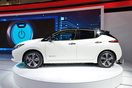DUBAI, UAE - NOVEMBER 18: The all new Nissan 2018 Leaf electric car is on Dubai Motor Show 2017 on November 18, 2017
