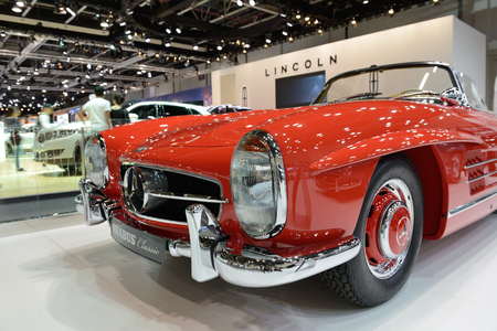 DUBAI, UAE - NOVEMBER 18: The restorated by Brabus Mercedes-Benz 300SL Roadster car is on Dubai Motor Show 2017 on November 18, 2017 Editorial