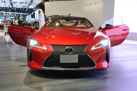 DUBAI, UAE - NOVEMBER 18: The Lexus LC500h hybrid sportscar is on Dubai Motor Show 2017 on November 18, 2017