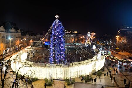 KYIV, UKRAINE - DECEMBER 28: The view on New Year Tree and St. Michaels Golden-Domed Monastery on December 28, 2017 in Kyiv, Ukraine