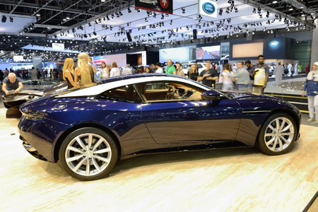 DUBAI, UAE - NOVEMBER 18: The Aston Martin DB 11 sports car is on Dubai Motor Show 2017 on November 18, 2017