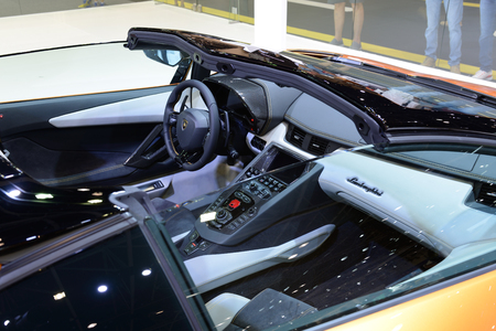 DUBAI, UAE - NOVEMBER 17: The interior of Lamborghini Aventador S Roadster sportscar is on Dubai Motor Show 2017 on November 17, 2017 Editorial