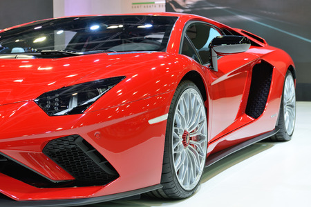 DUBAI, UAE - NOVEMBER 17: The Lamborghini Aventador S Coupe sportscar is on Dubai Motor Show 2017 on November 17, 2017
