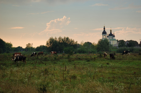 The view on building of orthodox church in Chaiky village, near Boguslav town, Ukraine
