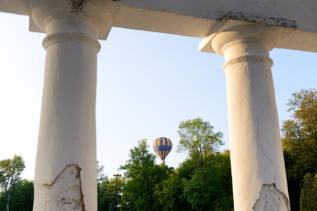 The view on balloons are over  Olexandria Park,  Bila Tserkva, Ukraine. The balloons show is dedicated to Ukrainian Independence Day.