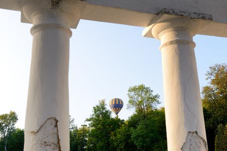 The view on balloons are over  Olexandria Park,  Bila Tserkva, Ukraine. The balloons show is dedicated to Ukrainian Independence Day. Reklamní fotografie - 121256482