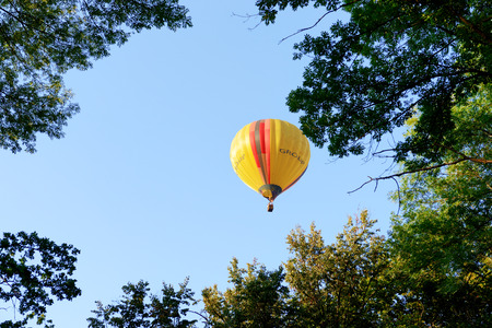 BILA TSERKVA, UKRAINE - AUGUST 25: The view on balloons are over  Olexandria Park on August 25, 2018 in Bila Tserkva, Ukraine. The balloons show is dedicated to Ukrainian Independence Day.